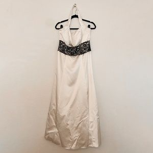 Ivory / Cream Long Satin Halter Dress